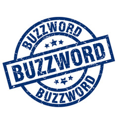buzzword blue round grunge stamp vector image vector image
