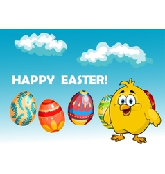 Happy chick in an Easter card design vector image vector image