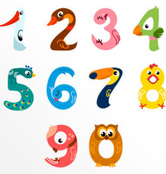 Numbers like birds vector image vector image