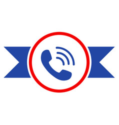Phone call seal with ribbons flat icon vector
