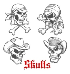 Sketched pirate cowboy and sheriff vector image vector image