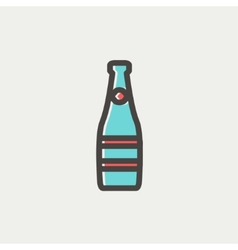 Champagne bottle thin line icon vector image