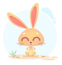 cute funny cartoon rabbit or bunny vector image