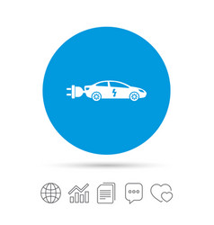 electric car sign icon sedan saloon symbol vector image