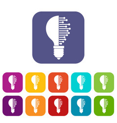 lightbulb with microcircuit icons set flat vector image vector image
