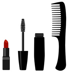 Mascara comb and lipstick vector image