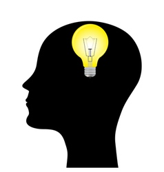 silhouette of a man with a head lamp vector image vector image