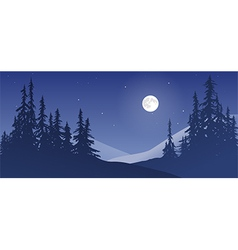 Snowy Landscape with Moon vector image vector image