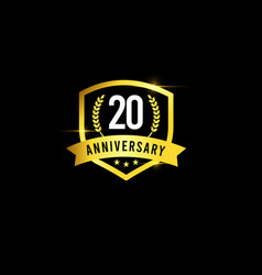 20 years anniversary gold emblem old design logo vector