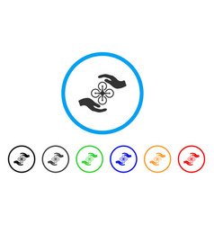 Air copter care hands rounded icon vector
