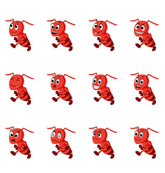 Ant with different facial expressions vector