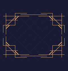 Art deco frame isolated on black background vector