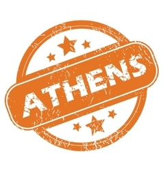 Athens round stamp vector image