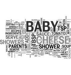 baby shower recipes text word cloud concept vector image