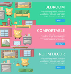Bedroom modern decor poster set vector