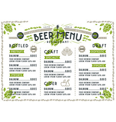 Beer menu for cafe and restaurant vector