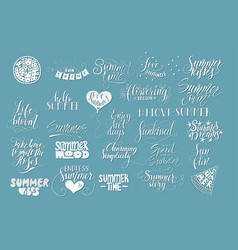 big bundle of 25 hand drawn summer quotes vector image