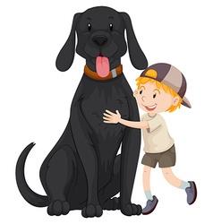 Boy hugging giant black dog vector