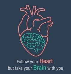 Brain and heart quotes vector