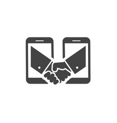 business handshake via phones icon vector image