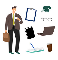 businessman and business accessorises of vector image