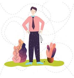 businessman has no money empty pockets plant vector image