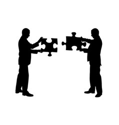 Businessmen holding puzzle pieces vector