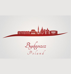 bydgoszcz skyline in red vector image