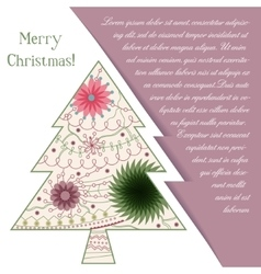 Card with christmas tree on paper and place for vector