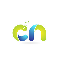Cn c n blue green combination alphabet letter vector