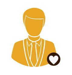 Color half body silhouette man with button heart vector