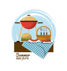 colorful logo summer picnic with charcoal grill vector image