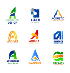Company and business letter a icons vector