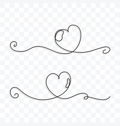 continuous line drawing love hearts vector image