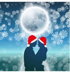 Couple over christmas background with moon vector image