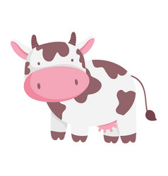 Cow cartoon farm animal isolated icon on white vector