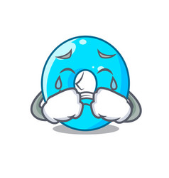 Crying cartoon the number zero color blue vector