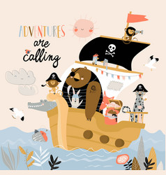cute cartoon animals pirates sailing in their ship vector image
