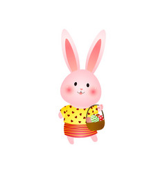 Cute rosy easter bunny with basket of eggs vector