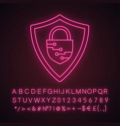 Cybersecurity neon light icon vector
