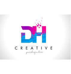 Dh d h letter logo with shattered broken blue vector
