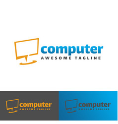 digital computer logo template vector image