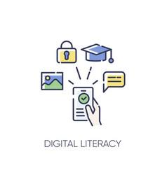 Digital literacy rgb color icon vector