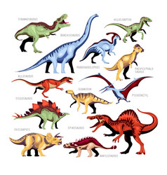 Dinosaur color cartoon set vector