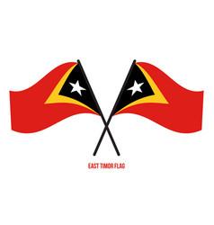 East timor flag waving on white background vector
