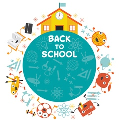 Education Characters and School Frame vector image
