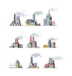 Factory buildings industrial urban power vector