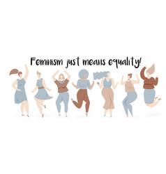 feminism with dancing women vector image