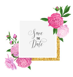 Floral wedding invitation template pink peony vector