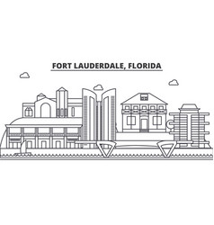 Fort lauderdale florida architecture line skyline vector